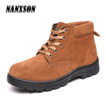 Men's Waterproof Anti Slip Oil and Acid Resistant Nubuck Cowhide Working Safety Shoes Woodland Boots with Steel Toe Cap