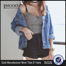 MGOO Custom Design OEM/ODM Wholesale Short Denim Jacket 2017 Soft Denim Winter Coat Light Blue Denim Jacket 149224