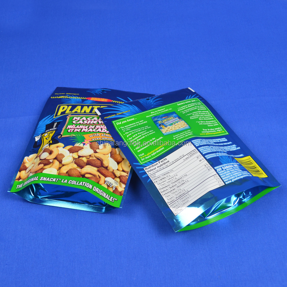 Dried snack food cashew nuts packaging bag pouches