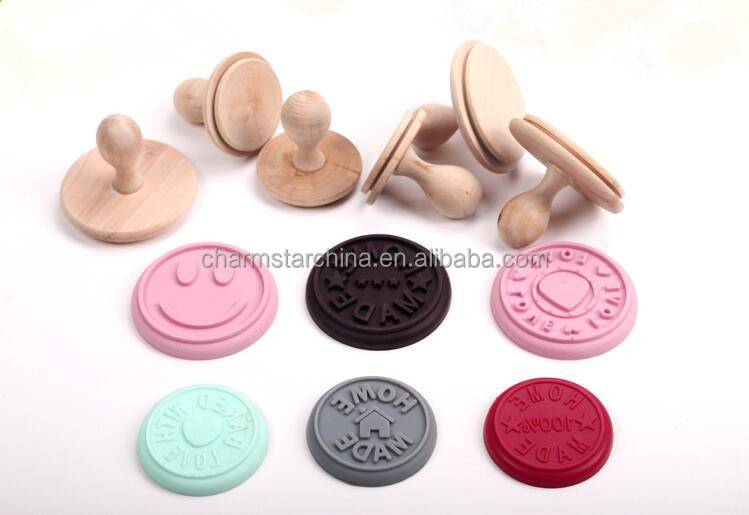 BPA free custom Silicone Cookie Stamp with Wooden Handle