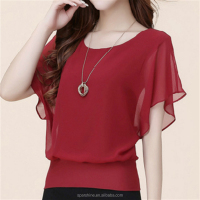 Summer Chiffon Blouse Plus Size Ruffle batwing sleeve tops women blouse Ladies chiffon shirt design