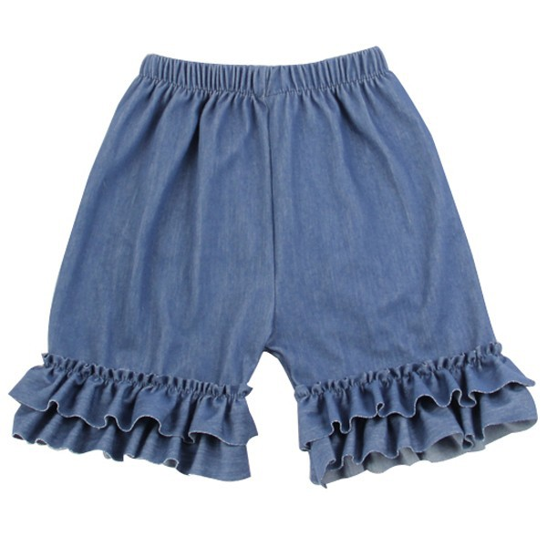 china factory wholesale solid color denim ruffle shorts kids