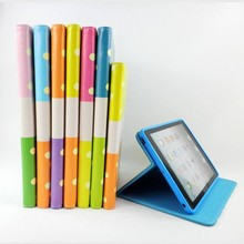 Colorful dot leather original smart cover case for apple for ipad 2 3 4 tablet case wholesale