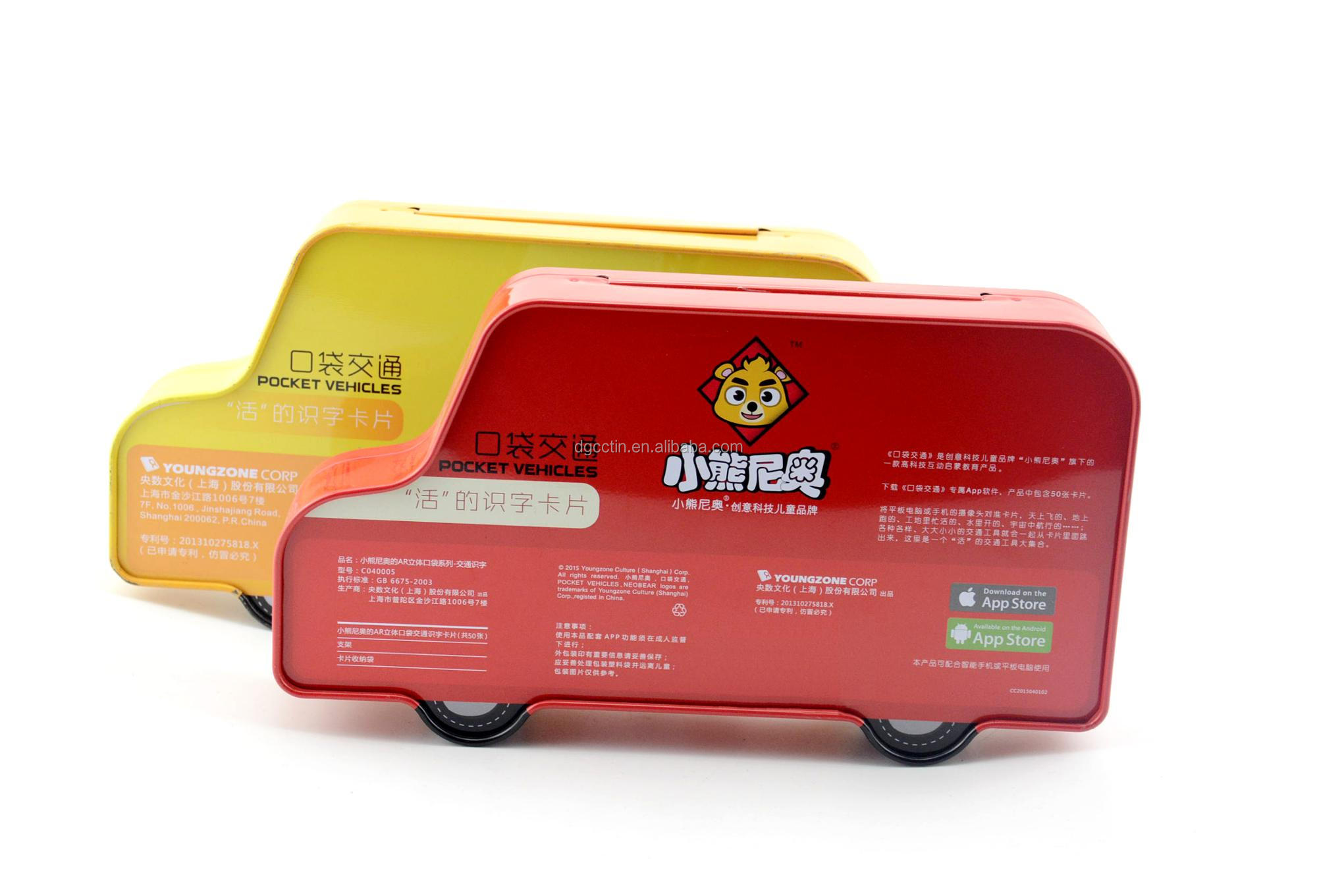 Custom printed car shape pencil packaging tin box for stationery