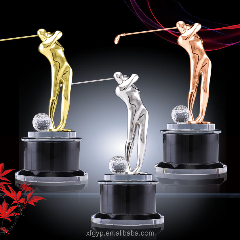 Gold/silver/bronze color metal golf statue and awards