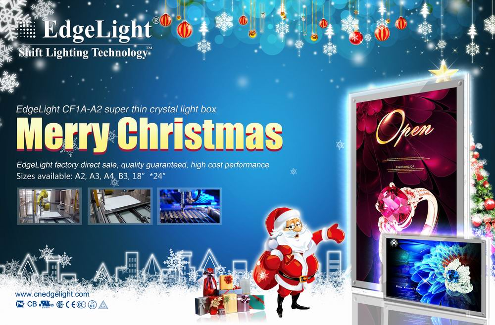Edgelight CF1A crystal acrylic light box led advertising signboard