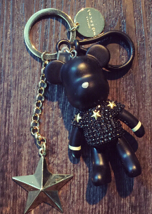 2016 NEW Full Rhinestones gloomy bear key ring cross keychain Lovely Holiday Gifts Car Keyring Key Chain