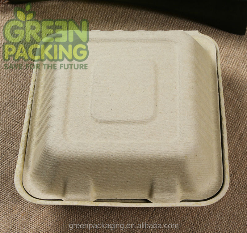 Biodegradable wheat straw clamshell / wheat straw food container