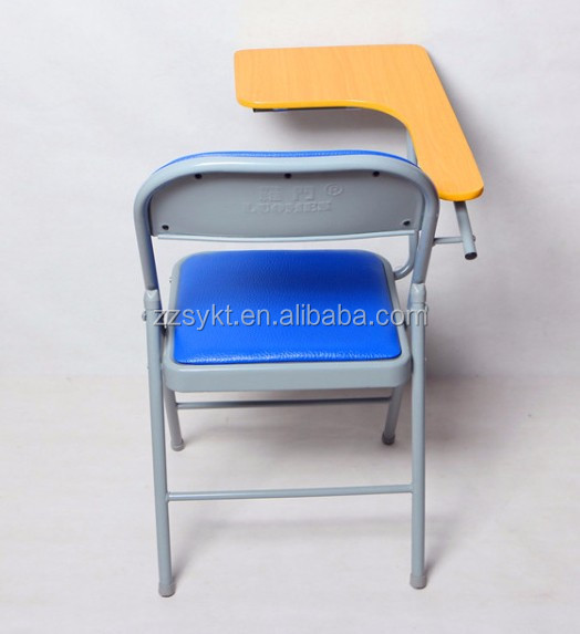 Simple office furniture folding training chairs with writing pad