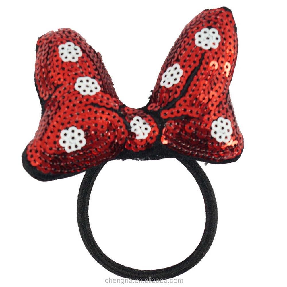 New Arrival Girls Sequin Bow With Hair Tie HBW-1701081-2