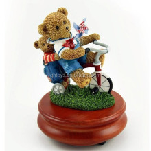 A Summers Day With 2 Bears And A Red Tricycle Musical Sugar Figurine