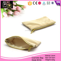 China Supplier Handle Classical Velvet Zipper Pouch/Cosmetic Bag With Zipper