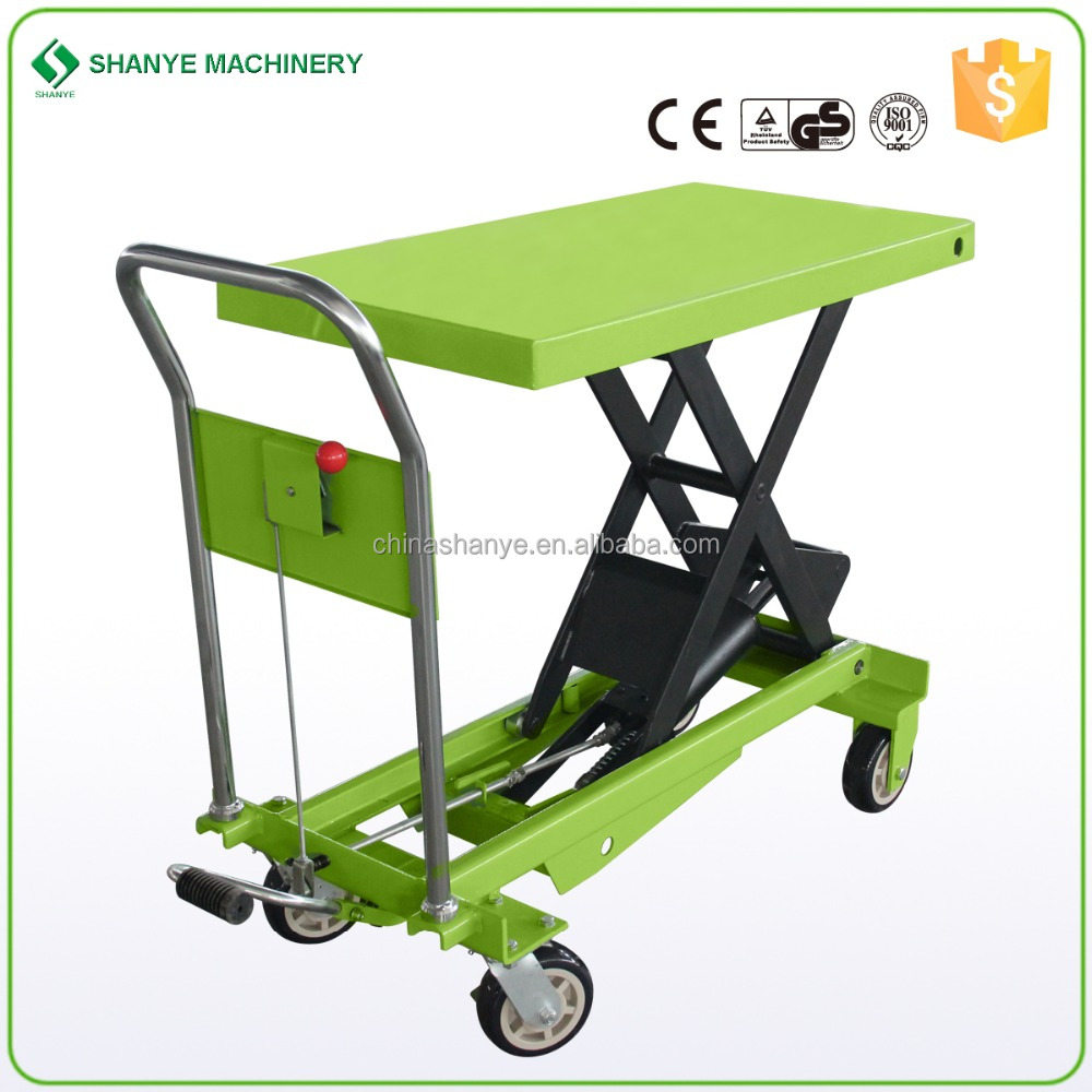 CE china supplier offers 1000kg cheap manual trolley hydraulic light weight lift table
