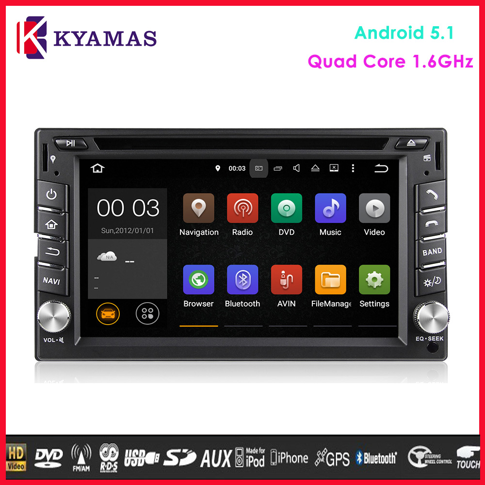Touch Screen Android 5.1 Auto Radio GPS Car DVD 2din Universal Android Car DVD Player with 1.6GHz CPU Radio GPS