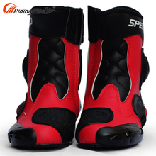 Red Motorcycle Boots Off Road Motorcycle Racing Boots