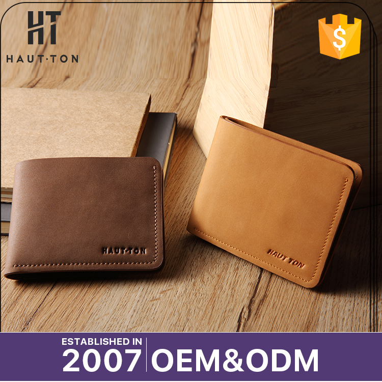 HAUTTON High Quality Professional Men's Business Card Wallets Hot Sale Fashion Horizontal Top Layer Leather Wallet