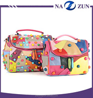 New Fashion Trend Hign Quality Sheep Skim Ladies Handbag, Service Pack Elegant Colorful Rivet Crossbody And Shoulder Bag