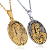 18k Gold Disc Necklace Jewelry Chains Stainless Steel Virgin Mary Maria Medal Pendant Necklace