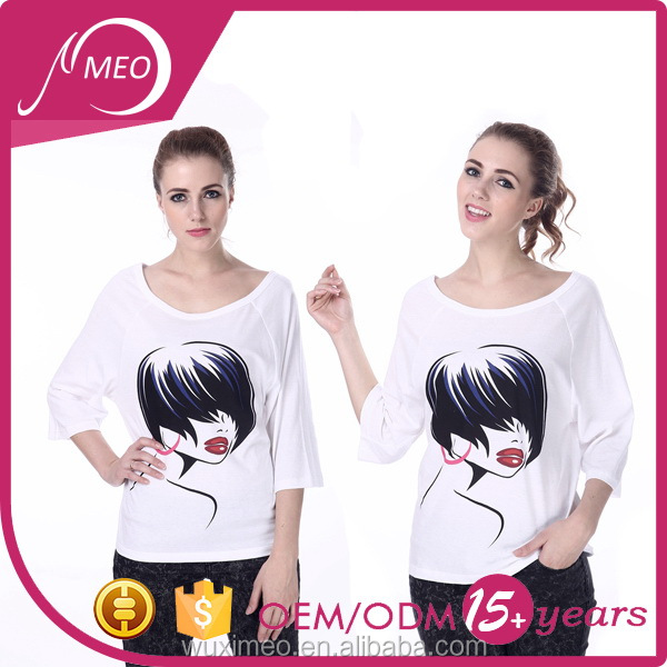 Customized color hot sale lady white long sleeve o neck t shirt