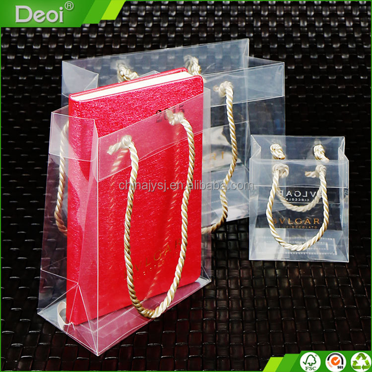 Clear plastic christmas packaging gift bag with handle