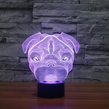 creative 3d effect light illusion night light of Shar pei dog for home deco light FS-3238