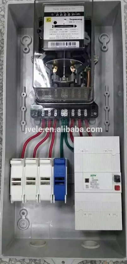 electric power box & Single phase 3 phase prepayment energy meter with hinges,lock and key
