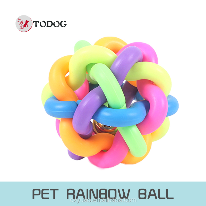 Dog rainbow ball/ with bell inside /pet playing ball/ pet TPR toy