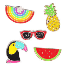 Fashion Collar Pins Brooches Enamel Label Pin Badge Cheap Custom Bulk Enamelled Rainbow Pineapple Brooch 500001