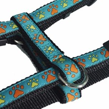 Eco-Friendly Manufacture Premium Cyan Nylon Woven Webbing Adjustable Dog Harness Xl Large Breed