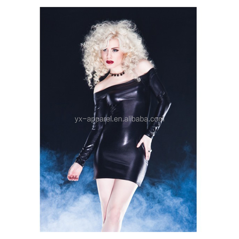 Lady Faux Leather Wet Look Mini Fetish Black Adult Dress Gothic Clubwear Off Sholder Long Sleeve Bandage Dress