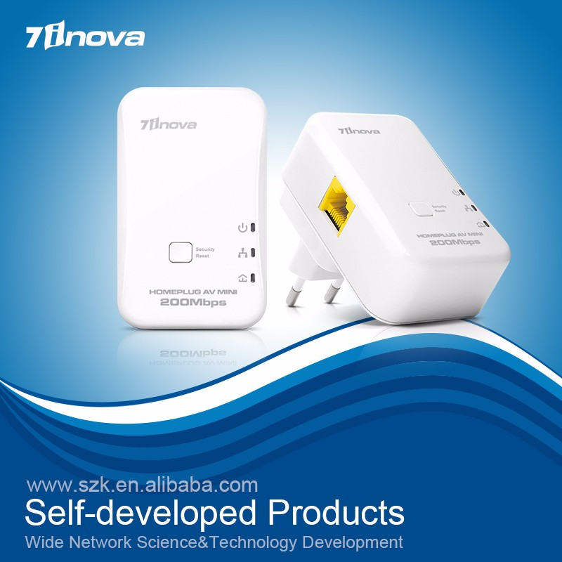 Mini Wallmount HomePlug AV Ethernet Powerline 200Mbps
