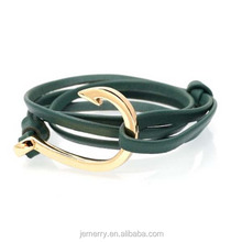 ally express wholesale zinc alloy hook leather naitical rope handmake bracelet for men