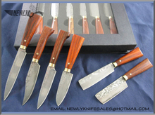 Collection Damascus Steel Kitchen Knife Set With Rosewood Handle