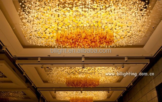 Contemporary design rectangle hotel crystal ceiling lamp