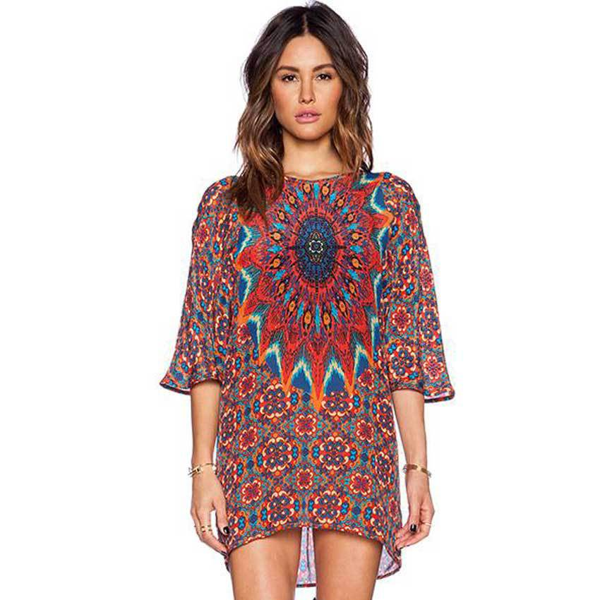 2015 Hot Sale Women Summer Style Dress Vestido 2015 Totem Print Half Sleeve Short Dress O-neck Vintage Loose Casual Dress