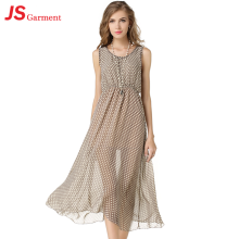 JS 20 Korean Fashion Transparent Chiffon Long Dress For Summer Young Ladies 1134