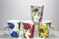 Best selling christmas ceramic mug tumbler with beautiful flower