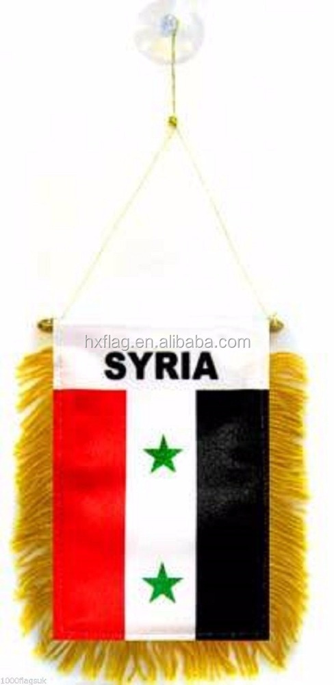 Wholesale Syria Flag Hanging Car Pennant for Car Window or Rearview Mirror