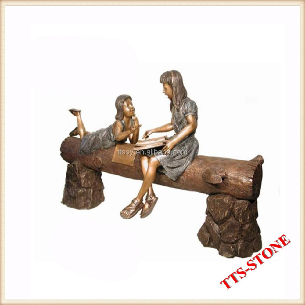Life size bronze reading book girls statue