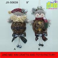 Spherical rattan Santa Snowman with jingle balls hanger