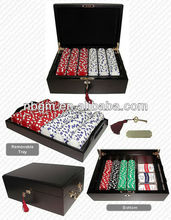 500pcs High Gloss Luxury Wooden Case poker chips set With Key and Chip Tray inside