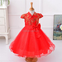 red long dress wedding wear for 2 to 10 years old girls puffy dresses