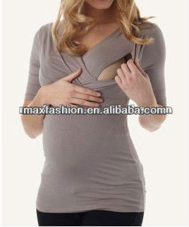 Ash grey breastfeeding nursing shirt