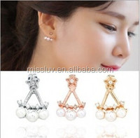 White South Sea Pearl Earring Cluster Diamond Cap Style Earrings For Gift