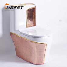 New glass deco one piece floor mounted siphon dual-flush pink color toilet for luxury hotel
