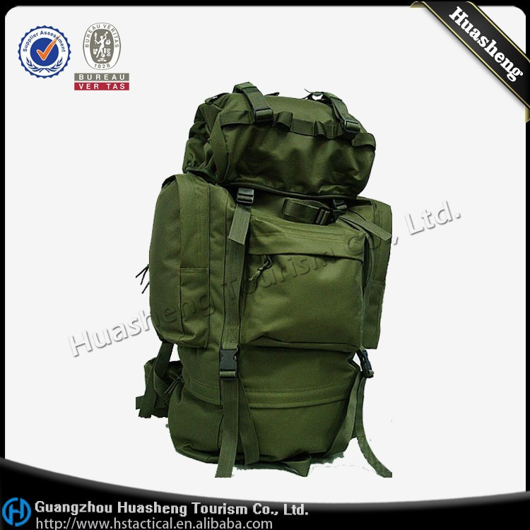 600D Rain Cover Rainproof 65L Camping backpack, Hiking Military Mountaineering Bag