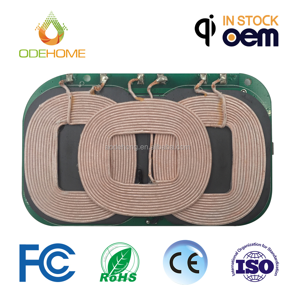 High quality QI standard 3 Coils Wireless Charger PCB Assembly Transmit universal charging PCBA
