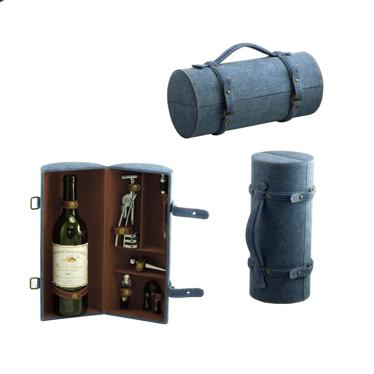 Luxury book shaped box pu leather wine gift box with wine tools