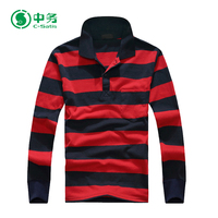 Wholesale Custom 100% Cotton Long Sleeve Men Sublimated Striped Polo Shirt