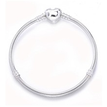 925 Sterling Silver Heart Clasp Clip Charm Snake Chain Bracelets & Bangles With Brand Logo For Women Friends Jewelry DIY